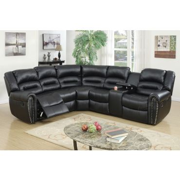 Lorcan Black Leather Recliner Sectional