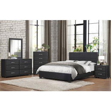 Lorenzi Modern Black Leather Bed
