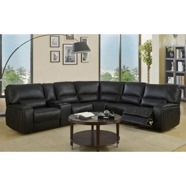 Lorita Black Leather Sectional Recliner