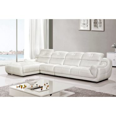 Lotus White Genuine Leather Sectional Set