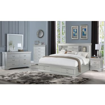 Louis Philippe Silver Bed With Drawers