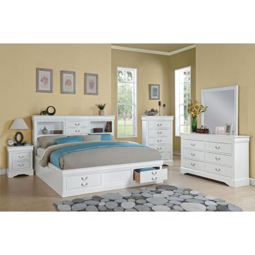 Louis Philippe Storage Bed White Finish