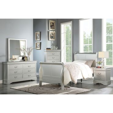 Louis Phillipe Silver Finish Youth Bedroom