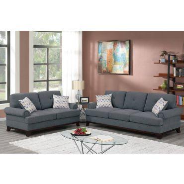 Luca Ash Grey Chenille Sofa Set