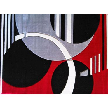 Geo Modern Red Rectangular Rug 180