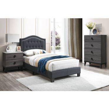 Mackenzie Charcoal Burlap Youth Bed
