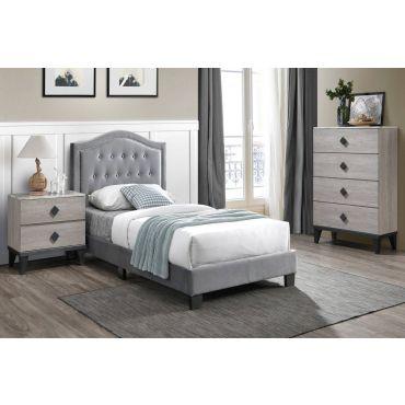 Mackenzie Grey Velvet Bed