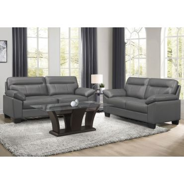 Makeda Grey Genuine Leather Sofa