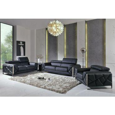 Malvina Black Italian Leather Sofa Set