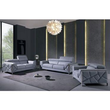 Malvina Light Blue Italian Leather Sofa Set