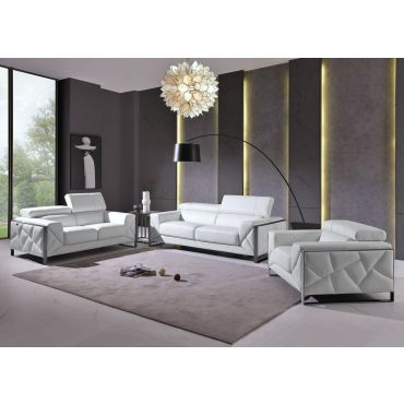 Malvina White Italian Leather Living Room
