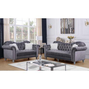Manley Grey Velvet 2-Piece Sofa Set
