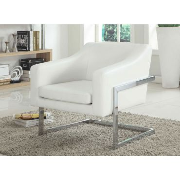 Manny White Leather Accent Chair