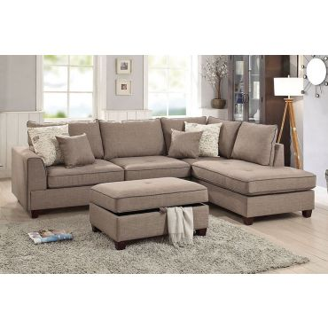 Marcel Mocha Fabric Sectional Set,Marcel Reversible Sectional Set