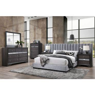 Marcella Wing Headboard Grey Bed