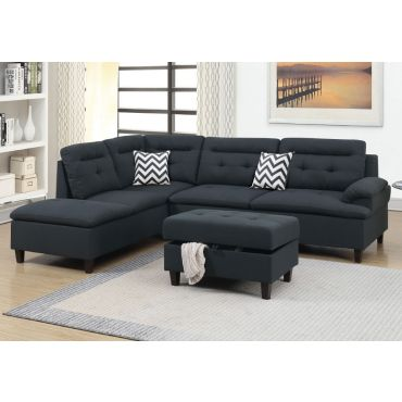 Marden Black Linen Sectional Sofa Set