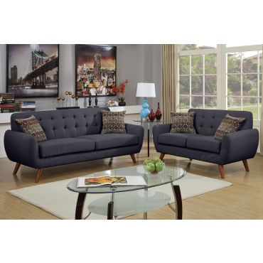 Marnie Black Linen Sofa and Loveseat