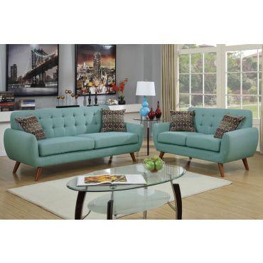 Marnie Sky Blue Linen Fabric Sofa Set