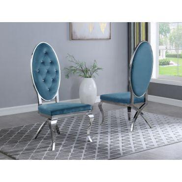Marquette Turquoise Velvet Chair