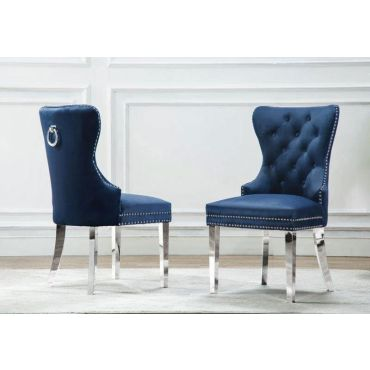 Marshall Navy Blue Velvet Chair