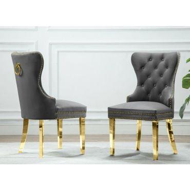 Marshall Grey Velvet Chair Gold Frame