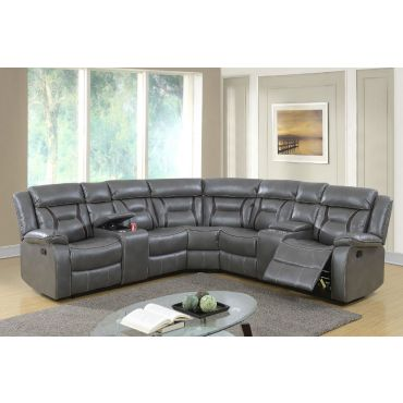 Martin Gray Leather Recliner Sectional