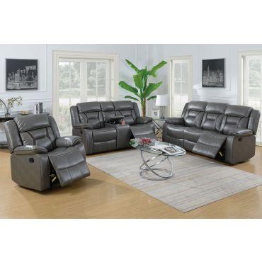 Martin Grey Leather Recliner Sofa