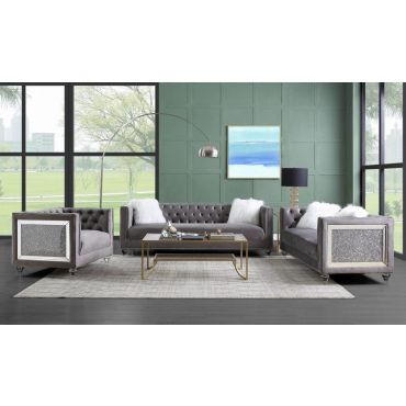 Kaiden Tuxedo Style Grey Velvet Sofa