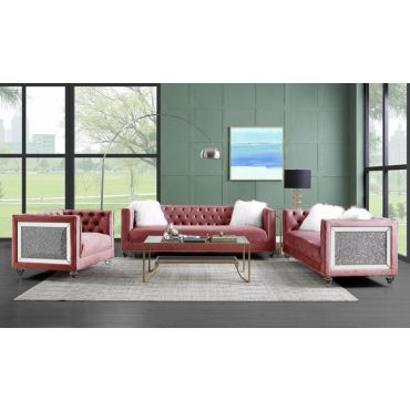 Mary Pink Velvet Sofa With Glitter Accents