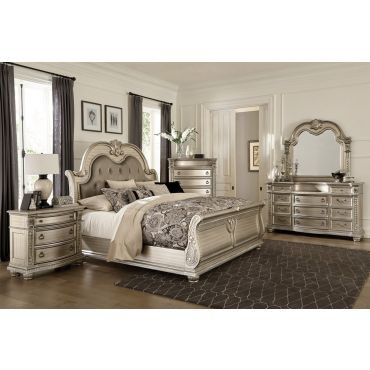 Marylan Traditional Bedroom Silver Finish