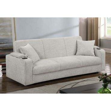 Maso Beige Chenille Storage Sofa Bed