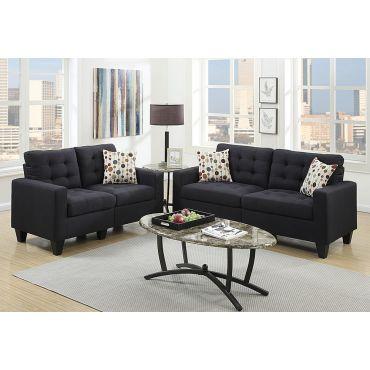 Mason 2-Piece Black Linen Sofa Set