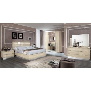 Matrix Beige Lacquer Italian Bed With Light
