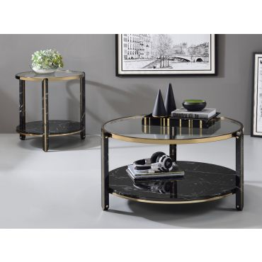 Maxine Black Faux Marble Coffee Table