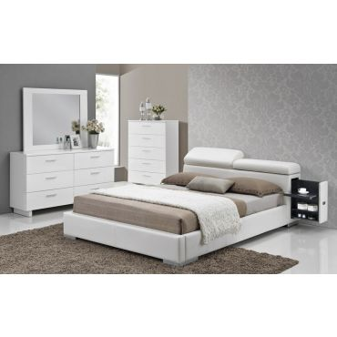 Maxy Leather Bed With Hidden Stands