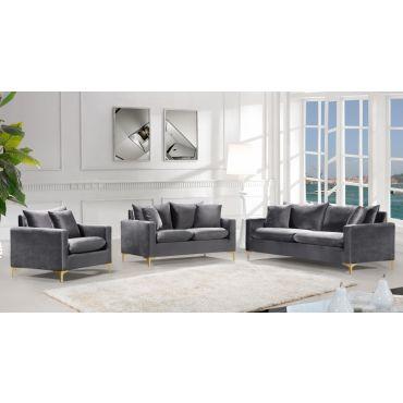 Melinda Grey Velvet Modern Sofa Set