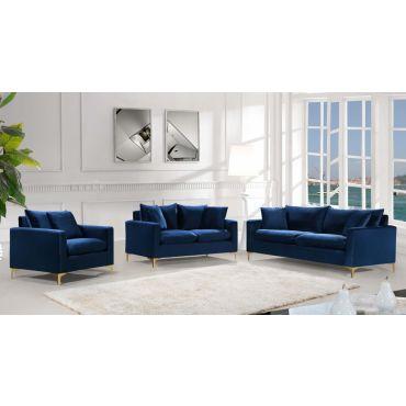 Melinda Navy Blue Velvet Sofa Set