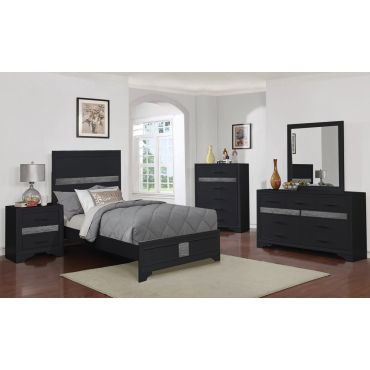 Merwin Modern Youth Bedroom Black Finish