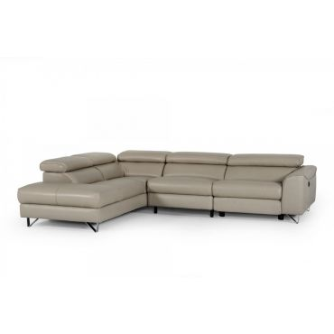 Metz Taupe Leather Power Recliner Sectional