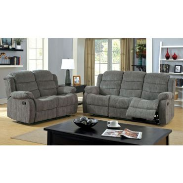 Michael Grey Chenille Recliner Sofa