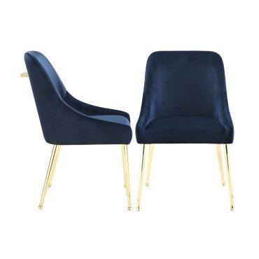 Beatrix Mid-Century Design Ink Blue Velvet Chair