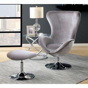 Midori Grey Fabric Modern Accent Chair