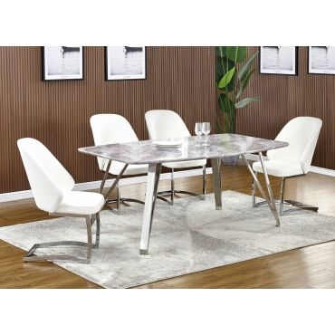 Midvale Faux Marble Top Dining Table Set