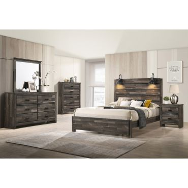 Miguel Rustic Finish Bed With Lights