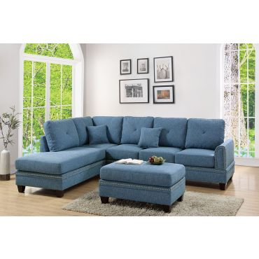 Milano Blue Fabric Sectional Sofa Set