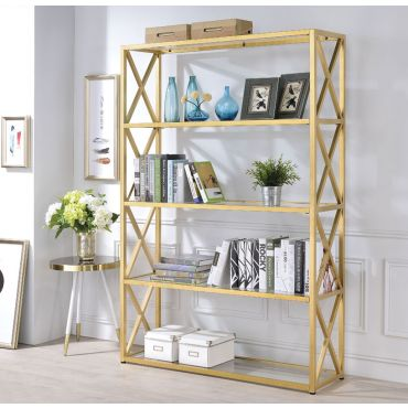 Milavera Goldtone Metal and Glass Bookshelf