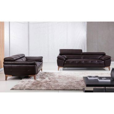 Mingbo Chocolate Leather Sofa