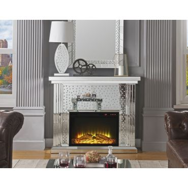 Declan Mirrored Fireplace Crystal Accented