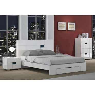 Misty White Modern Platform Bed