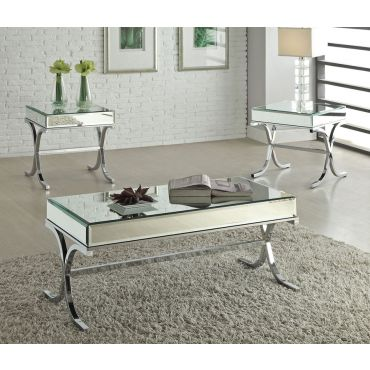 Reece Modern Mirrored Top Coffee Table,Reece Modern Mirrored Top Sofa Table